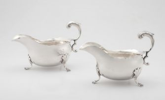 A pair of George II silver sauce boats, maker's initials D.B.R.M., London, 1752