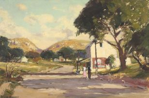 Adriaan Boshoff; Two Figures Strolling by the Local Store