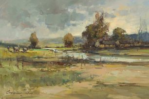 Christiaan Nice; Landscape with Farmhouse and Grazing Cattle