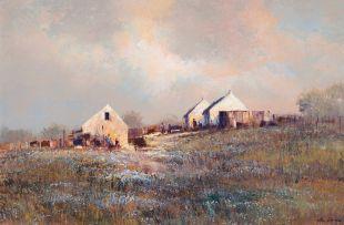 Mel Brigg; Landscape with Farm Buildings