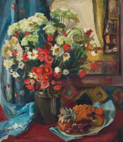Maud Sumner; Still Life with Vase of Flowers and Fruit
