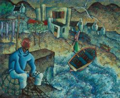 Diederick During; Fisherman Mending Nets