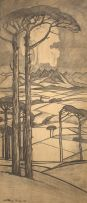 Jacob Hendrik Pierneef; Extensive Mountain Landscape with Pine Trees