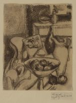 Wolf Kibel; Fruit and Jug on a Table