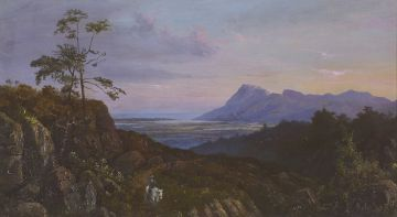 Abraham De Smidt; View from the Bridle Path up Table Mountain Looking towards Muizenberg and Land Valley