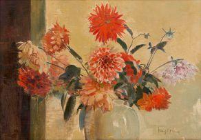 Frans Oerder; Dahlias in a Vase