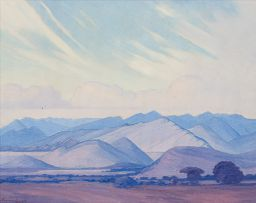 Jacob Hendrik Pierneef; Landscape with Purple Mountains