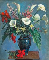 Alfred Neville Lewis; Still Life with Arum Lilies, Daffodils and Hibiscus