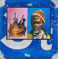 Willie Bester; Portrait of an Old Man and a Primus Stove