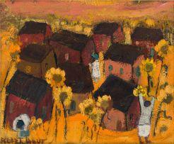 Frans Claerhout; Landscape with Sunflowers