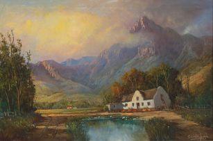 Gabriel de Jongh; Cape House in a Mountainous Landscape