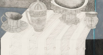 Cecily Sash; Decorative Objects on a Striped Cloth