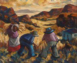 Hennie Niemann Snr; Harvesters in a Mountainous Landscape