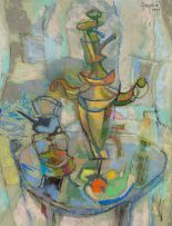 Gregoire Boonzaier; Still Life: Samovar, Primus Stove and Fruit
