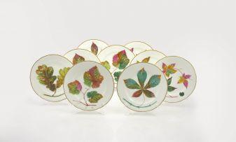 A set of nine Staffordshire botanical plates, 19th December 1870