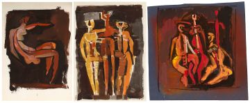 Cecil Skotnes; One Figure; Three Figures; Four Figures, three preparatory drawings