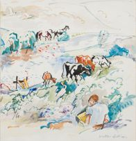 Walter Battiss; Boy in a Landscape