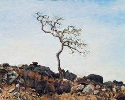 Walter Meyer; Rocky Landscape with Tree
