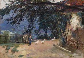 Frans Oerder; A Farmyard Scene
