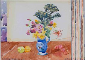 Walter Battiss; Still Life with a Jug of Flowers and Fruit