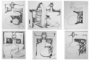 Cecily Sash; Still Lifes with Vessels, six