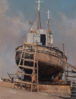 Dino Paravano; Boat in Dry Dock