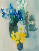 Louis van Heerden; Vases with Daffodils and Irises