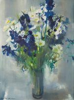 Louis van Heerden; Delphiniums and Daisies in a Glass Vase