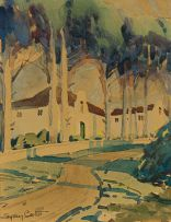 Sydney Carter; View of Gabled Buildings