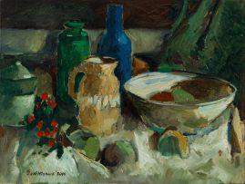 Eben van der Merwe; Still Life (with Jug and Bottles)