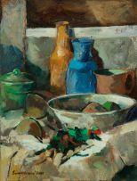 Eben van der Merwe; Still Life (with Bowl and Vessels)