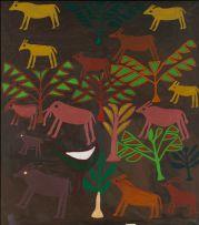 Ferciano Ndala; Composition with Elephant and Antelope