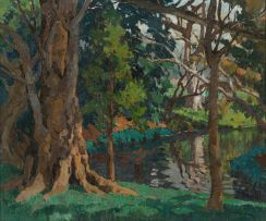 Max Boullé; Forest Scene with Stream