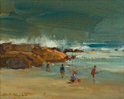 Dino Paravano; Beach Scene with Fisherman