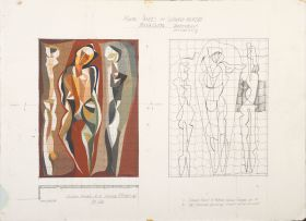 Cecil Skotnes; Preparatory Drawing and Painting for Mural Panels