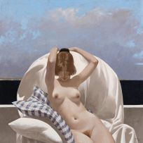 Neil Rodger; Nude in High-backed Chair
