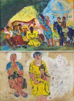 Benjamín Palencia; A Gathering, recto; Three Women, verso