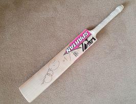 Signed David Warner cricket bat from Ashes tour