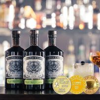 Blind Tiger Gin for a year, Ballentine's Whisky and Richard Scott painted Wine Bottle