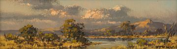Otto Klar; Landscape with River and Trees