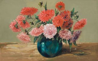 Jan Dingemans; Vase of Dahlias