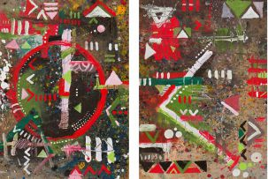 Samson Mnisi; Abstract Composition I; Abstract Composition II, two