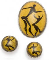 Drostdy Ware (Grahamstown Pottery); Brooch and Earrings