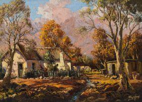Tinus de Jongh; Farmhouse and Trees