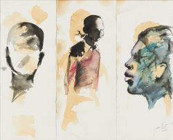 Nelson Makamo; Face and Figures, triptych