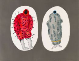 Colbert Mashile; Two Figures, Red and Grey