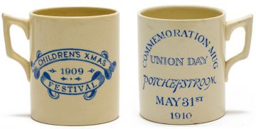Transvaal Pottery; Children's Xmas Festival 1909; Union Day, Potchefstroom, May 31st 1910, Commemorative Mugs, two