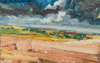 George Rowlett; View from Coldblow over Deal to Pegwell and Ramsgate, Sunlight and Shadow
