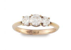 Three-stone diamond and 18ct rose gold ring