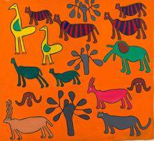 Katunga Carimbwe; Trees and Animals in Orange Landscape